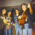 Catskill, New York, March 1998. L-R: Laurie Lewis, Akira Otsuka, Ira,    Peter Rowan. (Not shown: Mike Munford, banjo.)